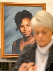 A portrait of the late Neilsa Mason is on display in
