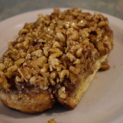 The caramel walnut sticky bun at Deja Brew.