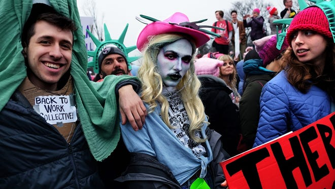 """An unusual """"Lady Liberty"""" participated in the Jan. 21 Women's March in Washington."""