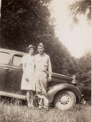Posing beside his 1935 Plymouth, this is possibly a wedding photo of Janie Mae's parents in 1942. Notice her white dress, matching white hat, and his Army uniform. Because she seldom wore hats, it appears to be a special occasion. Granny was quite distraught when they couple eloped to Greenville, South Carolina, during a short Army furlough before his deployment to the South Pacific.