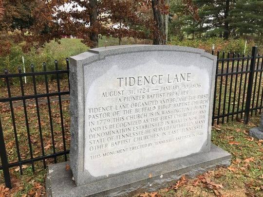 This stone, marked on the Rev. Tidence Lane's original rural grave by Tennessee Baptists in 1946, has been removed with his remains to a memorial garden next to First Baptist Church in Whitesburg, Tennessee.
