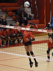 Putting a good swing into the ball for Clarenceville