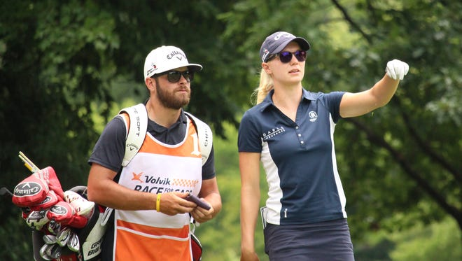 After shattering the single-season earnings record on the Symetra Tour with $114,157 in winnings, No. 1 ranked Madelene Sagstrom leads the Danielle Downey Credit Union Classic by one stroke.