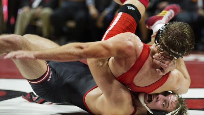 Rutgers 197-pounder Hayden Hrymack (black) is 11-7 as a true senior after electing not to redshirt.