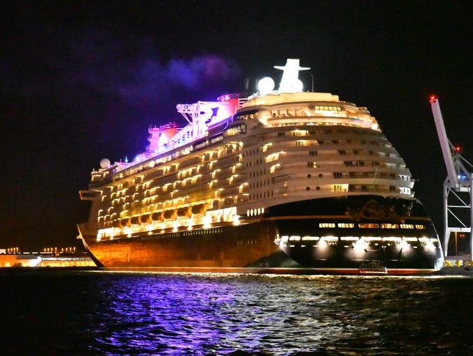 The damaged Disney Dream arrives in Port Canaveral