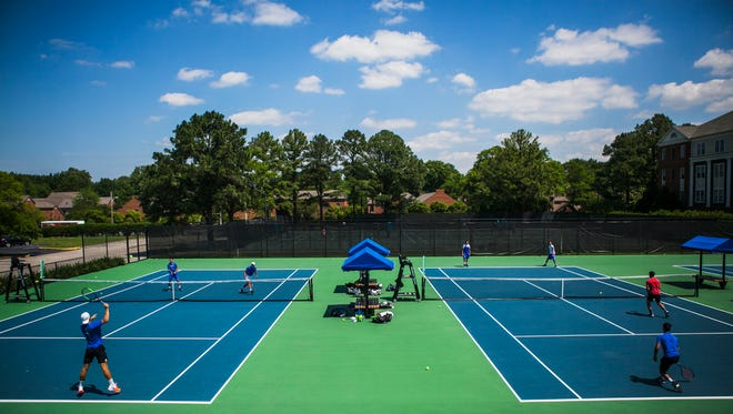 The University of Memphis men's tennis team practices in May 2017 at the Racquet Club in Memphis, before competing in an NCAA Tournament.