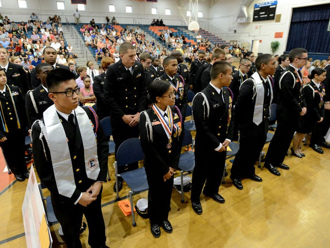 Members of the Escambia High School Junior Reserve Officers' Training Corps are recognized for their recent National Championship achievement recently during Escambia High's Senior Honors Night award ceremony.