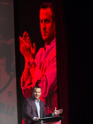 Louisville women's basketball coach Jeff Walz addressed fans today at the Tipoff Luncheon. Oct. 23, 2017.