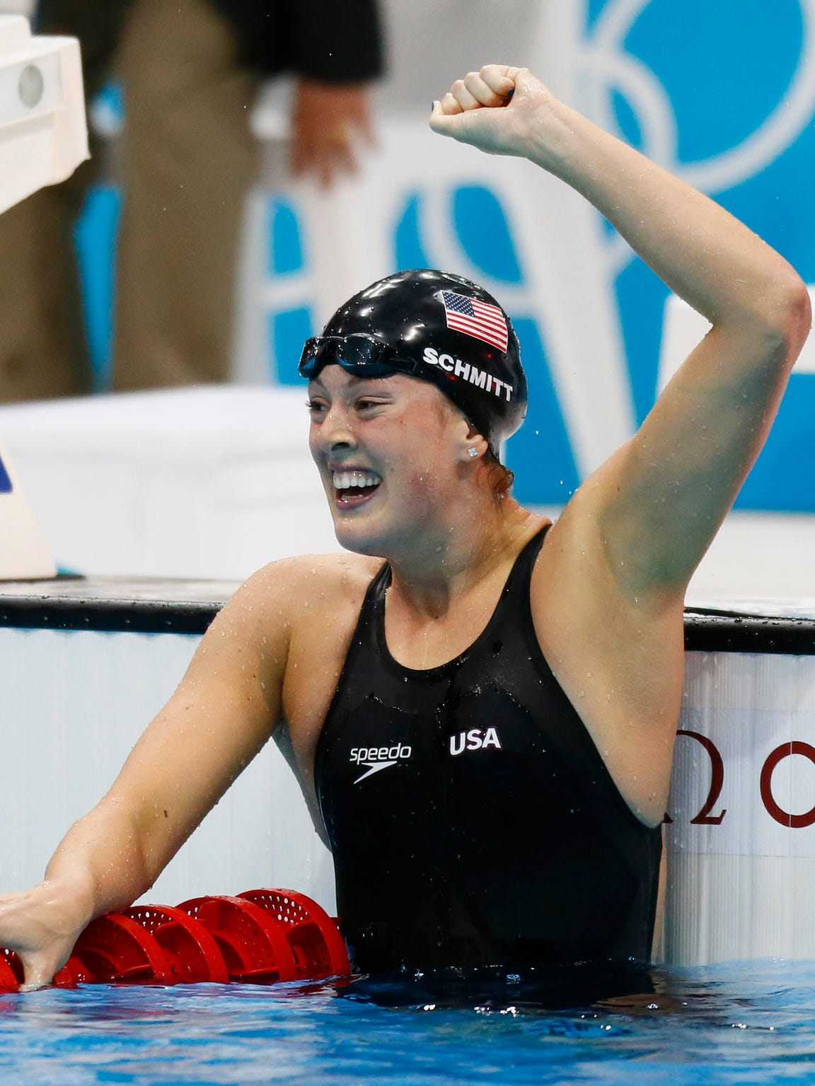 U.S. Olympics swimmer Allison Schmitt celebrates after