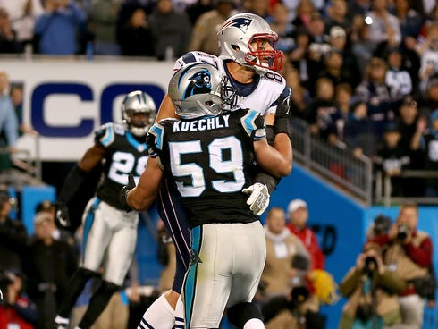 Could Patriots tight end Rob Gronkowski have caught a winning TD on Monday night if Panthers linebacker Luke Kuechly hadn't impeded him quite so much?