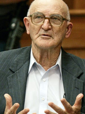 In this June 20, 2005 photograph, Edgar Ray Killen is photographed in a Philadelphia, Miss., court room during a recess of his murder trial for the 1964 slayings of three civil rights workers. Killen, was convicted of organizing the infamous 1964 slayings of three civil rights workers.