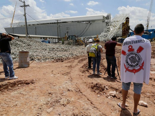 Part of the 2014 World Cup Stadium, the Itaquerao stadium in Sao Paolo, Brazil, collapsed killing two workers, authorities said.