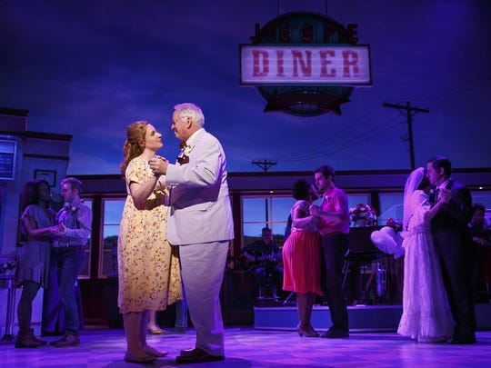 "Jessie Mueller and Dakin Matthews in ""Waitress."""