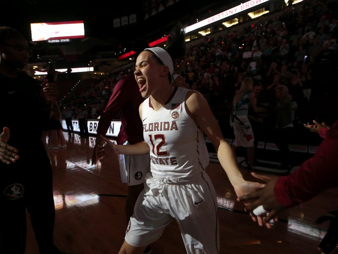 FSU's Brittany Brown is introduced for Senior Night,