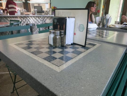 Many of the tables at Parks & Rec diner in Detroit