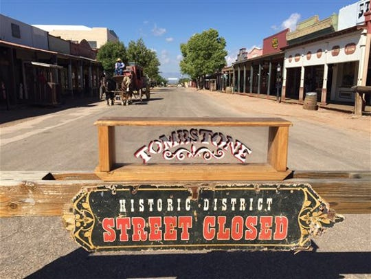 A sign marks a street closed in Tombstone on Monday,