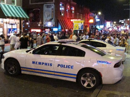 A view of police cars on Beale Street on Saturday, June 11, 2016.