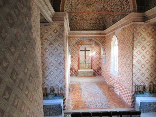 This Jan. 20, 2017 photo shows a room in the Sintra Palace, about 16 miles from Lisbon, Portugal. The ornate palace walls and ceilings are decorated with intricate tilework and paintings. The palace served as a home to Portuguese royalty for centuries.