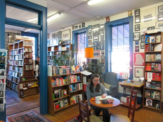 This March 12, 2017 photo shows Square Books, a bookstore in Oxford, Miss. The store offers a well-curated selection of books about the region, including works by the town's most famous resident, the late novelist William Faulkner.