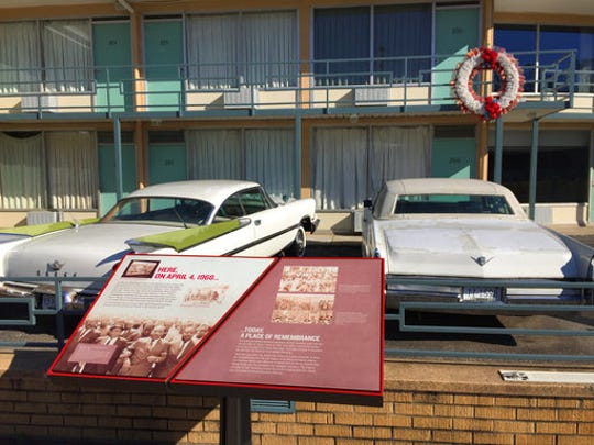 This March 13, 2017 photo shows a view of the former Lorraine Motel balcony where Martin Luther King Jr. was shot in 1968 in Memphis, Tenn. The former motel is now part of the National Civil Rights Museum.