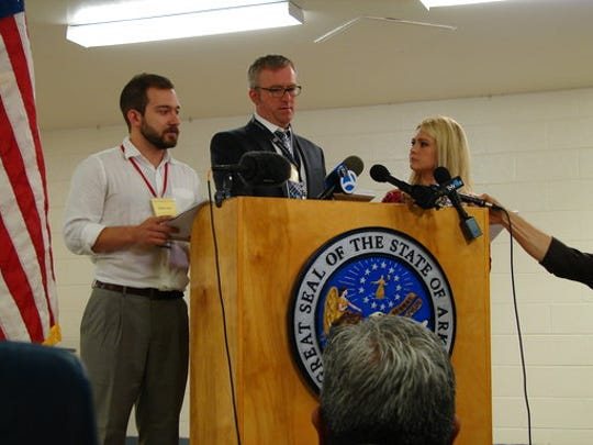 Media witnesses speak about the late Thursday night execution of Ledell Lee in Varner, Ark., early Friday, April 21, 2017. Lee was the first inmate put to death in the state since 2005. John Moritz of the Arkansas Democrat-Gazette, from left, Sean Murphy of The Associated Press and Marine Glisovic witnessed Lee's death.