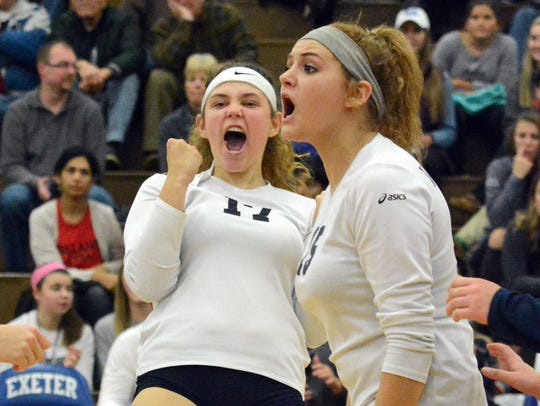 West York's Taylor Morley, left, and Gianna Krinock celebrate during West York's 27-3 season in 2017. Both Morley and Krinock are returning for the Bulldogs in 2018. DISPATCH FILE PHOTO