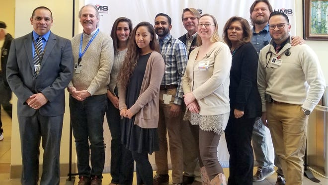 Pictured from left to right: Dan Otero, HMS CEO, Dr. Neal Bowen, HMS CMHO and Behavior Health Faculty, Dr. Kristan Diaz-Rios, Associate Program Director, Amanda Castillo, Program Coordinator, Dr. Neel Patel, Third Year Resident, Dr. Darrick Nelson, HMS CMO & FMRP Program Director, Dr. Susan Bauer, Second Year Resident, Dr. Virginia Hernandez, Core Faculty, Dr. Brandon Ferguson, Third Year Resident, and Dr. Pedro Armendariz, Second Year Resident. Not Pictured: Dr. Roberto Aguero and Dr. Rory Keys, both first year residents located in Las Cruces.