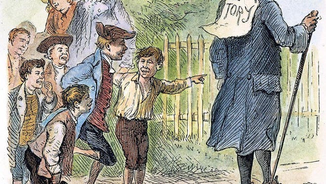"A late 19th century illustration shows local ruffians taunting a man in a three-cornered hat by posting a ""TORY"" sign on his back. Many New Hampshire Loyalists, including Portsmouth-born governor Sir John Wentworth, were taunted and driven out of the region during the American Revolution."