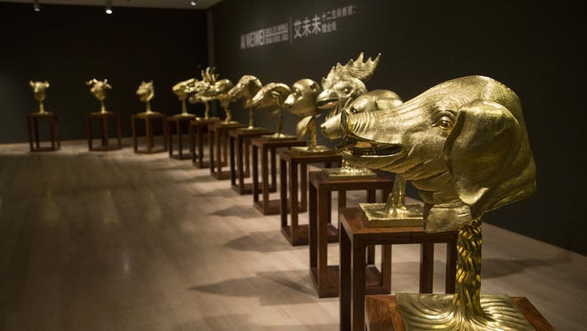 """Circle of Animals/Zodiac Heads: Gold,"" by Chinese  artist and activist Ai Weiwei, were inspired by the zodiac sculptures from a Qing dynasty fountain in the Old Summer Palace in Beijing."