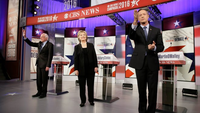 The Democratic candidates at the Nov. 14, 2015, debate in Des Moines.