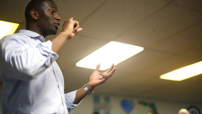 Mayor Andrew Gillum speaks during the opening of a Tallahassee campaign office for Hillary Clinton earlier this month.