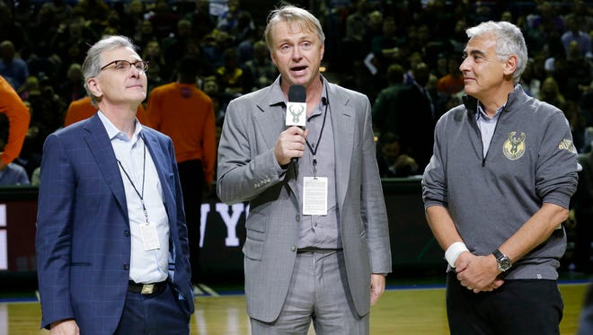 Jamie Dinan (left), We Edens (center) and Marc Lasry (right) are the three principal owners of the Milwaukee Bucks.