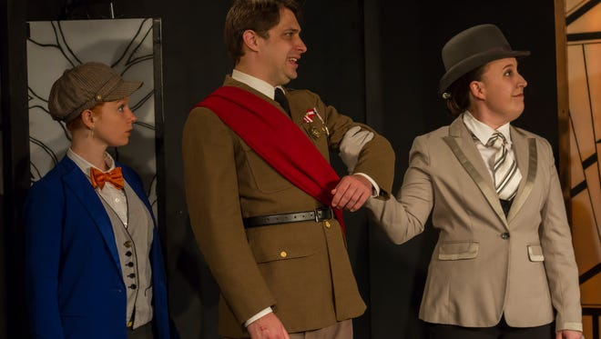 """Brittany Curran (left), Tim Rebers and Maddie Wakley perform in Theater RED's comedy """"The Wayward Women."""""""