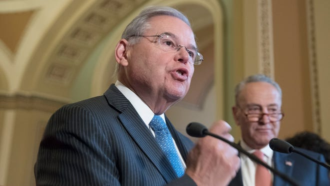 Sen. Bob Menendez speaks during a news conference with Democratic senators on Capitol Hill on July 11, 2017.