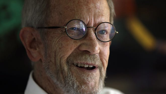This Sept. 17, 2012 file photo shows author Elmore Leonard at his Bloomfield Township, Mich., home. Leonard, the crime novelist whose acclaimed best-sellers and the movies made from them, died Aug. 20, 2013 from complications from a stroke. He was 87.