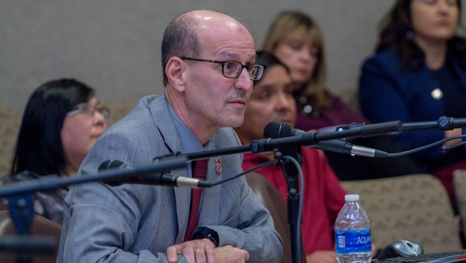 NMSU Vice President for Administration and Finance Andrew Burke discusses potential tuition increases Friday morning at a Board of Regents special meeting on Friday, April 6, 2018.