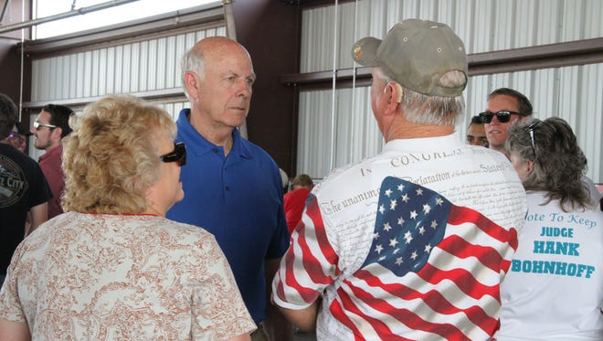 Republican U.S. Rep. Steve Pearce who is running for governor spoke with several voters at Saturday's Ice Cream Social.
