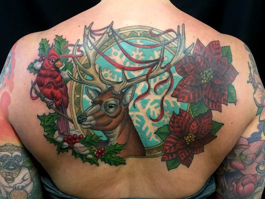 Beth Reimer's latest tattoo is a collage of nature