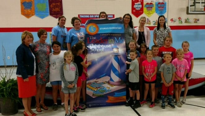 Sturgis Elementary staff and student Lighthouse team with Mrs. Liz Brewer and Michelle Hall, Principal.