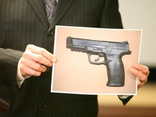File Photo: A photo of the gun allegedly used by Vincenzo