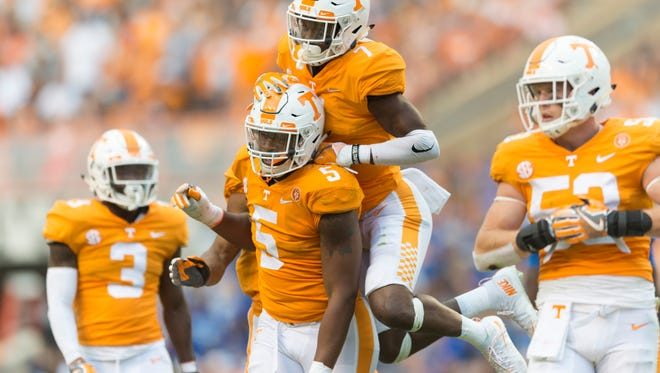 Tennessee defensive lineman Kyle Phillips (5) and Tennessee defensive back Rashaan Gaulden (7) celebrate after a play during the Tennessee Volunteers vs Indiana State Sycamores game at Neyland Stadium in Knoxville, Tennessee on Saturday, September 9, 2017.