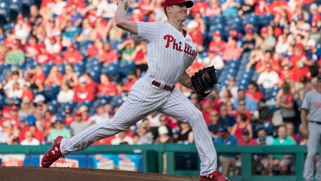 Philadelphia Phillies pitcher Nick Pivetta (43) delivers a pitch during the first inning of the game against the Washington Nationals at Citizens Bank Park. Mandatory Credit: Gregory J. Fisher-USA TODAY Sports