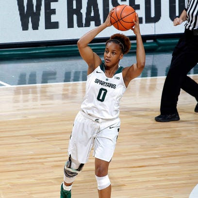 Michigan State's Shay Colley looks to pass against