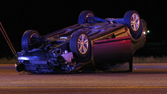 Two adults, and two children were involved in an two-car accident Monday night. The two children were in the same car, which rolled after being struck by another car.
