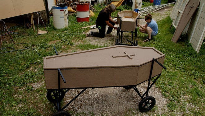 Coffin racers similar to this one will hit the streets of New Albany Saturday afternoon for the Culbertson Mansion Coffin Races.