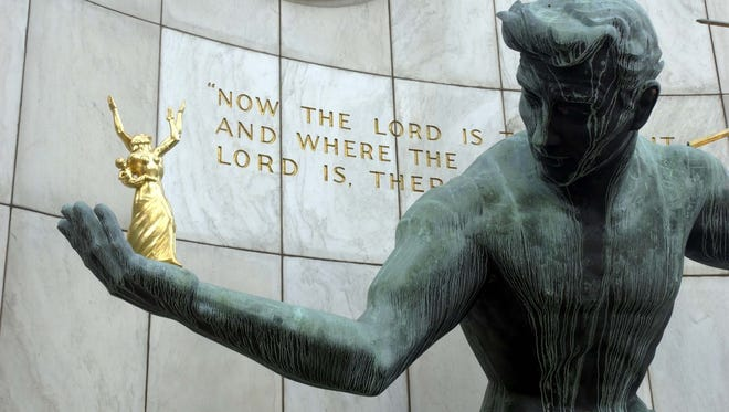 The Spirit of Detroit statue outside the Coleman A. Young Municipal Center.