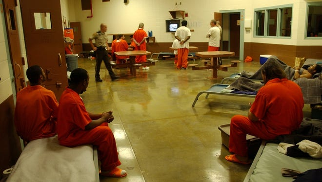 Inmates inside the non-smoking general population area in the men's section at the Clark County Jail.