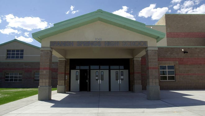 The main entrance to Spanish Springs high school is seen in this file photo.