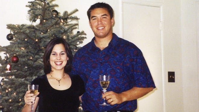 """Laci and Scott Peterson, are shown during the 2002 Christmas season. Scott Peterson was convicted of murdering Laci and their unborn son that Christmas Eve, but a a new film, """"Trial By Fury,"""" casts doubt on Scott Peterson's guilt"""