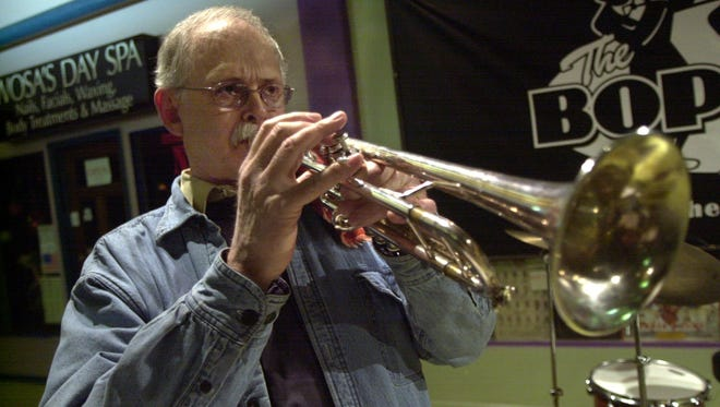 Trumpter Paul Smoker during a sound check prior to performing live in 2002 at The Bop Shop.